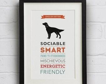 SALE 20% OFF English Setter Dog Breed Traits Print