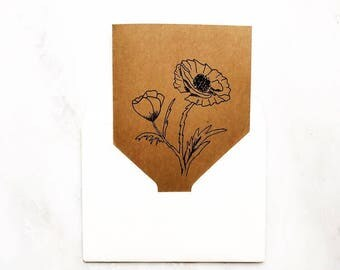 Hand illustrated poppy card