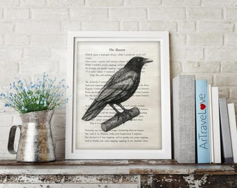 Edgar Allan Poe Raven Charcoal Drawing on book page Print