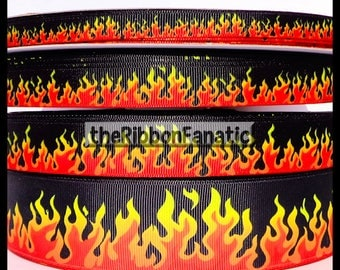 "5 yds or 3 yds 3/8""  5/8""  7/8""  1.5"" or 2.25"" Flames Fire Red Orange Yellow Red Hot on Black Grosgrain Ribbon"