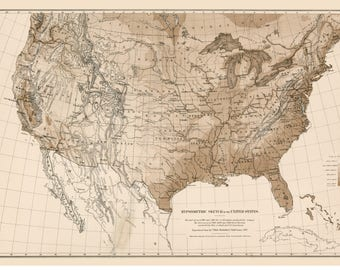 USA Hyposometric/Elevations Map 1870 Reprint 9th Census Atlas