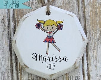 personalized customized cheerleader ornament,  Christmas ornaments, custom ornaments, ornament exchange, gift for her