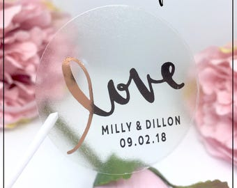 Love Foil Transparent Stickers x 24 round  label in Gold, Rose Gold, Silver or Matt black - Can Personalise Wedding | Favours | Metallic