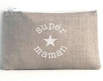 "Linen pouch natural inscription ""super MOM"" - unlined"