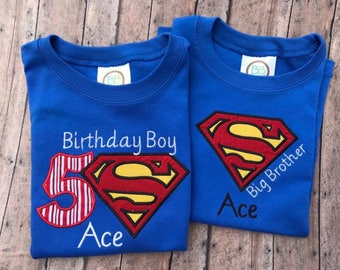 Boy's appliquéd Superman shirt with Embroidered Name and Birthday number (Can be made with different sayings)