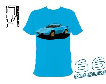 Lancia Stratos HF Group 4 PERSONALISED T-Shirts by AutoRenders - 66 Colours - S/M/L/XL/2XL/3XL* - Unisex - Shirt & Car Colour Match!