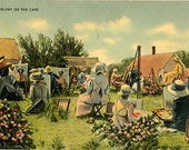 Cape Cod Massachusetts Artist Colony Vintage Postcard 1948