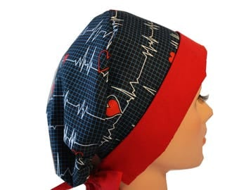 Scrub Hat Surgical Scrub Cap Chemo Hat Flirty Front Fold Pixie Calling All Nurses Hearts EKG   2nd Item Ships FREE