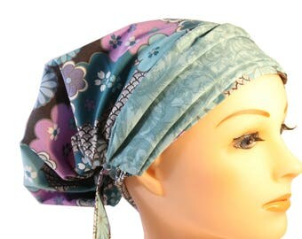 Scrub Hat Cap Chemo Bad Hair Day NEW European BOHO Banded Pixie Tie Back Muted Purple Floral Grey Blue Band 2nd Item ships FREE