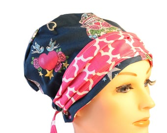 Scrub Hat Cap Chemo Bad Hair Day Hat  European BOHO Banded Pixie Tie Back Glitter Skull Pink Band 2nd Item Ships FREE