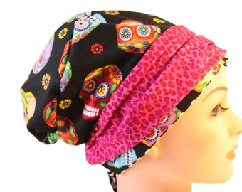 Scrub Hat Cap Chemo Bad Hair Day Hat  European BOHO Banded Pixie Tie Back Cantina Sugar Skull Animal Print Band 2nd Item Ships FREE