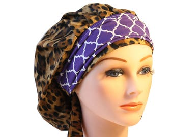 Scrub Cap Surgical Medical Chemo Chef Vet Nurse Hat Banded Bouffant Tie Back Animal Leopard Print Purple Quaterfoil 2nd Item Ships FREE