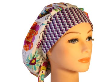 Scrub Cap Surgical Hat Chef   Dentist Hat Tie Back Bouffant Mod Floral Purple Teal Pink Yellow Orange  2nd Item Ships FREE
