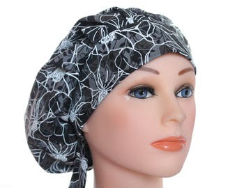 Scrub Cap Surgical Hat Chef  Dentist Hat Tie Back Bouffant Classic Black Grey Stencil Floral 2nd Item Ships FREE