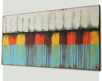 Acrylic Painting, Canvas Wall art, White and Brown landscape j20, Abstract Painting, Modern Art, Landscape painting