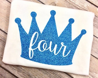 Any Color Princess Crown Birthday Shirt, Four Year Old, Aqua Blue Glitter, Queen Birthday Girl, Fourth Birthday, 4 Year Old Birthday Shirt