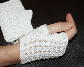 White Egyptian cotton, short women gloves