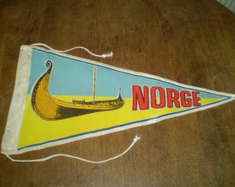 Vintage 1960s Norway pennant- Norge Pennant in yellow and light blue- Norway Viking ship pennant-- Satin Viking boat souvenir