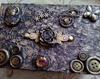 Altered wooden box, black, gold, mixed media, treasures box, keepsake box, jewelry box, handmde box, gift for her, storage decorative box