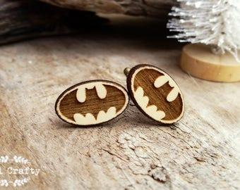 Batman Wooden Cufflinks Superhero Dad Grooms Best man Groomsman Rustic Wedding Birthday Gift Cuff links