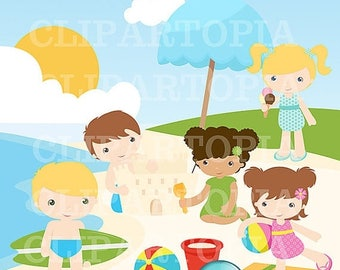 50% OFF SALE Boy And Girl Summer Beach Digital Clipart Cute Boys and Girls At the Beach fot Personal and Commercial use/ INSTANT Download