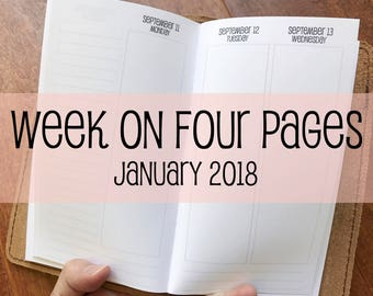 Traveler's Notebook PERSONAL Size Week on Four Pages {January 2018} #700-51