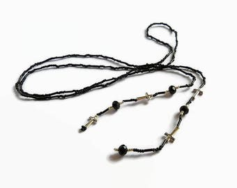 Black beaded lariat, seed bead y-necklace, gothic lariat with silver crosses