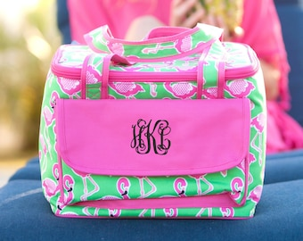 Pink Flamingo Cooler Bag / Pink / Green / Personalized Cooler Tote / Insulated Beach Tote