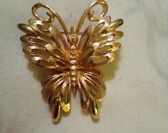 Monet goldtone Butterfly brooch.