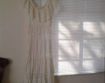Vtg 60s 70s Mexican Cotton Wedding Dress