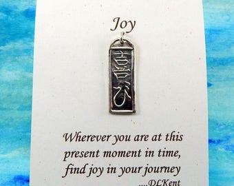 Joy Pendant, Inspirational Jewelry, Kanji Symbol Necklace, Joy Kanji Jewelry, Long Fine Silver Pendant