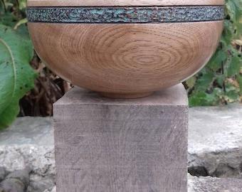 Oak bowl, with verdigris band.
