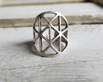 """Ring adjustable """"Celtic"""" silver plated large"""