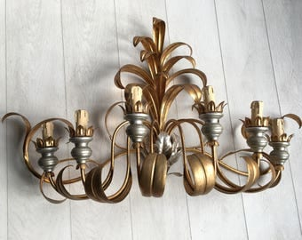 Vintage gilt metal wall sconce/light