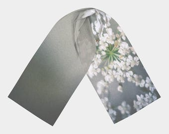 Gray Scarf, Wearable Art, Digital Print scarf, Nature Scarf, Flower Photo Scarf, Wedding shawl, Ethereal Gray Flower Scarf, Gift for Women