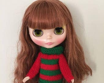 Sweater to fit Blythe Neo Dolls. Handmade, knitted with  merino yarn