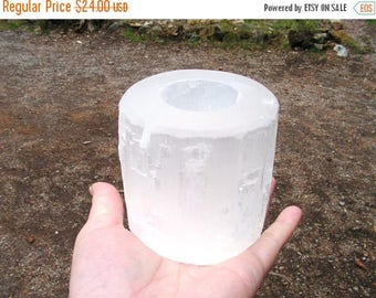 ON SALE 15% OFF Selenite Candle Holder, crystal, mineral, new age, metaphysical