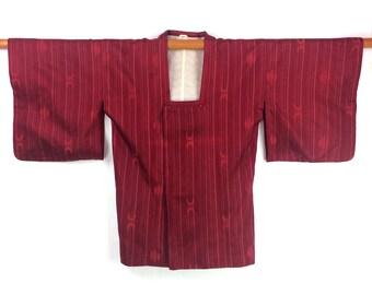 Vintage Kimono Jacket Michiyuki Japanese Burgundy Silk Haori Kimono Gift for Her