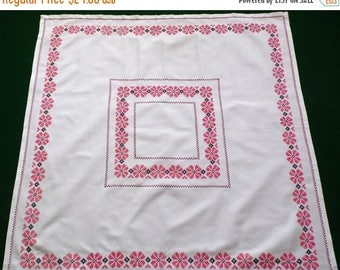 25% SUMMER SALE Vintage white cotton square table cloth with cross stitch hand embroidery embroidered table topper
