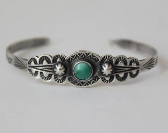 Vintage 1900-1930s Fred Harvey Era Navajo Childs Silver Turquoise Cuff Bracelet