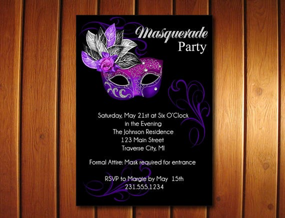 Masquerade Party Invitation Mardi Gras Party Invitation Sweet 16