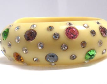 Thermoplastic Multicolor Rhinestone Bracelet Hinged Cuff Off White