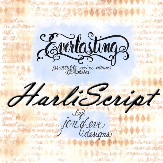 Everlasting Printable Mini album Template in HARLISCRIPT and PLAIN