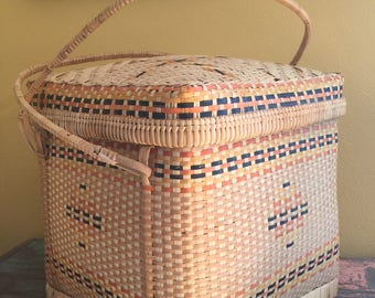 Large Sewing Knitting Crafting Basket Vintage Perfection!