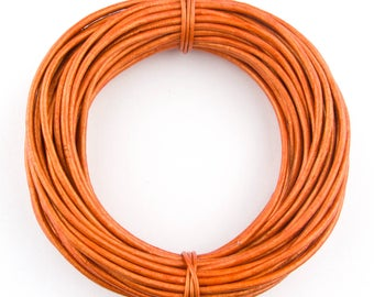Orange Metallic  Round Leather Cord 1.5mm 50 meters (54 yards)