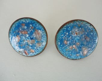 Blue Enamel Clip On Earrings