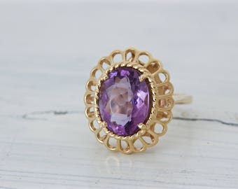 Vintage Amethyst Ring   Statement Engagement Ring   February Birthstone Ring   14k Yellow Gold Ring   Oval Ring   1980s Jewelry   Size 6.5