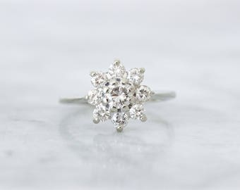 Vintage Halo Engagement Ring | 1960s Diamond Cluster Ring | 14k White Gold Ring | Snowflake Ring | Delicate Diamond Jewelry | Size 7.25