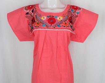 Frida Style Mexican Hand Embroidered Peasant Blouse 100% Cotton/Manta - Light Pink- Puebla-BOHO-Hippie-Summer- Frida Kahlo- Festival