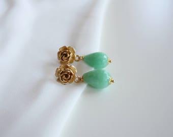 Mint gemstone earrings